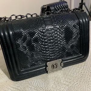 Black Snakeskin Crossbody Boy Bag